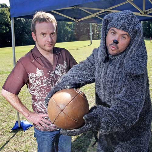 Doggy Do: Wilfred cast members Jason Gann and Adam Zwar filming for the SBS comedy series on the Coast. Photo:Michaela O'Neill/184412