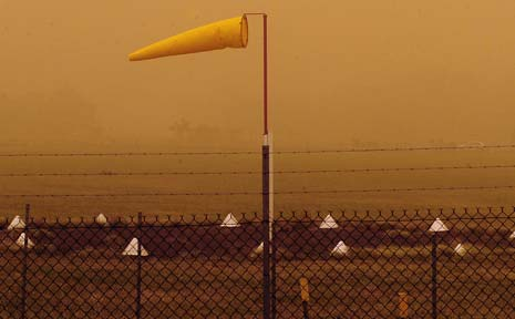 The dust storm and strong winds caused planes to be diverted from Lismore airport.