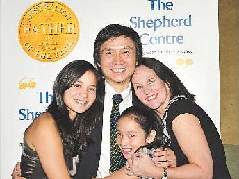 Mary and Li this year with their children Sophie and Bridie.
