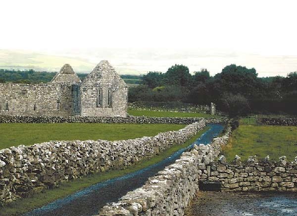 A stone wall and the remains of an old house at Kilkenny.