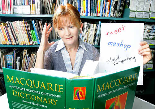 "The Bremer Institute of TAFE's library manager Robyn Dennis gives ""tweet"" her vote in the Word of the Year contest."