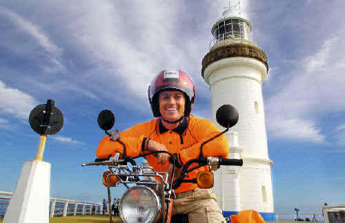 TV personality Grant Denyer marks his return to Sunrise by making his way from Byron Bay to Denham, in Western Australia, on a postie bike.
