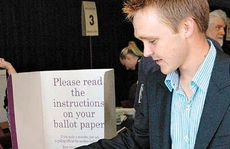 A very humble Wyatt Roy votes on Saturday.