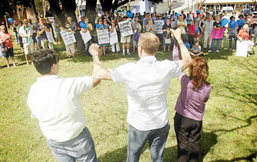 Absolute solidarity: Clarence Valley politicians turned out to a rally in Market Square on Saturday to show their support for local Telstra workers who may lose their jobs this week.