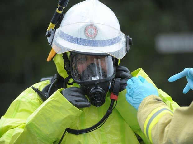 Gladstone fire crews are on site after a canister of aluminium sulfide was handed in to the Baffle Creek Post Office.