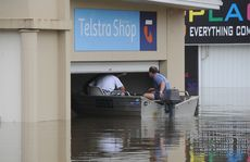Paul Atkinson and Cam Klee boat into the Telstra shop.