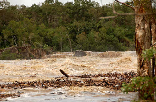 After the storm: Dumbleton Weir the morning after Cyclone Anthony passed through Queensland yesterday.