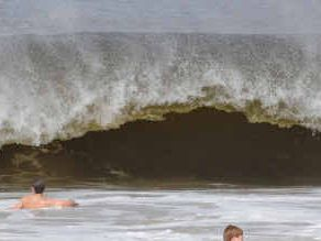 Dumping waves such as this one caused a Hervey Bay man trouble on New Year's Eve, after he was left with suspected spinal injuries after being dumped by a wave.