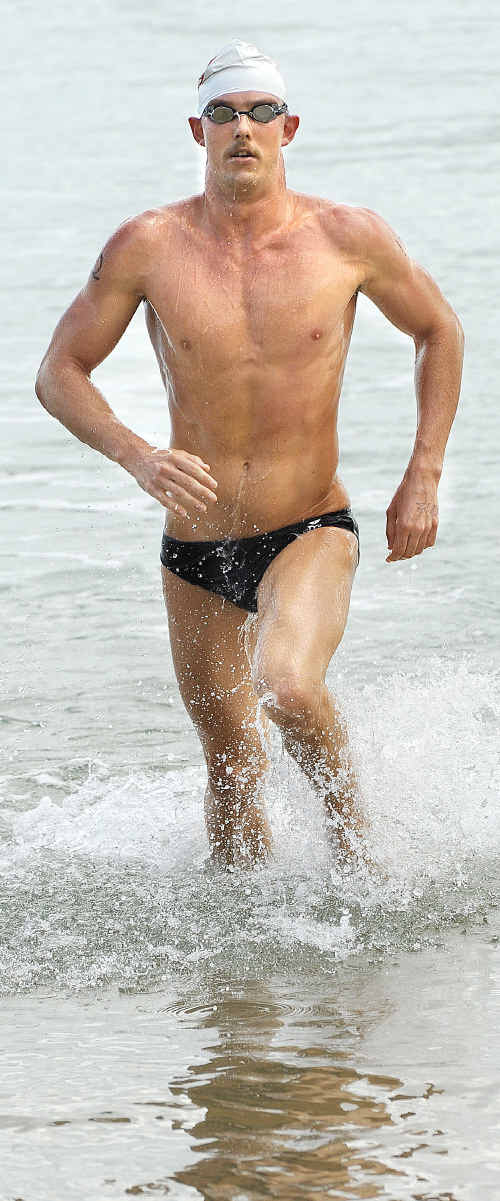 Olympic swimming hopeful Michael Sheil won the open men's race in style.