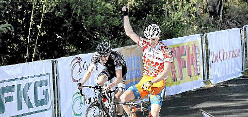 Patrick Shaw celebrates his Tour of Toowoomba stage two win over Rhys Gillett on Saturday.