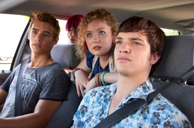 Brenton Thwaites (L) with the cast of SLiDE.