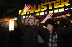 Chris Higgins and Liz Clinton get into the spirit at the Optus Gympie Music Muster.