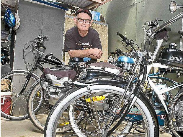 John Foss, AKA Giacomo Fosscati, of Ocean Shores with his hand-made motorised bicycles.
