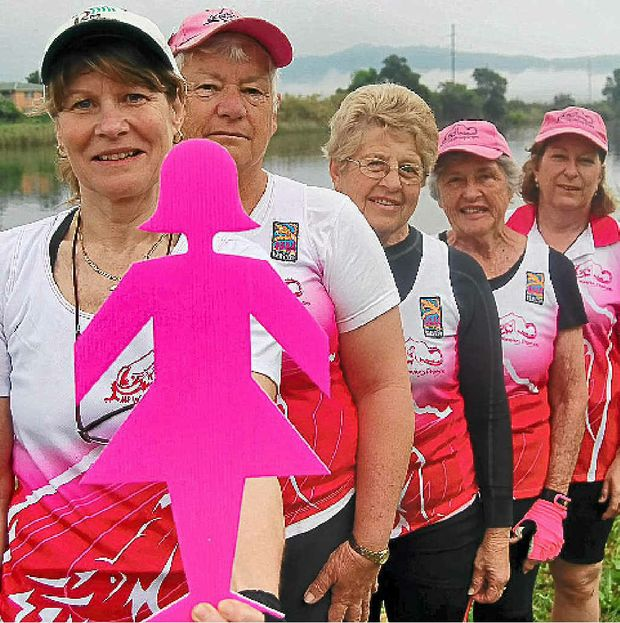 The Mount Warning dragon boat team members support breast cancer research.