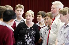 Bruce and Denise Morcombe talk to Ipswich Grammar School junior students about personal safety.