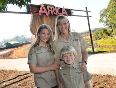 Terri, Bindi and Robert Irwin outside the Africa exhibit when it opened in 2011.