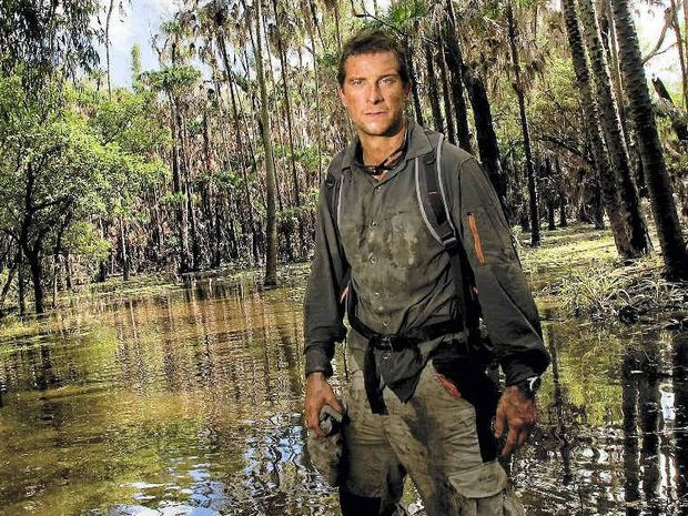 ADVENTURER: Bear Grylls filming in crocodile-infested waters at Mount Borradaile, Arnhemland, Northern Territory, in May last year.