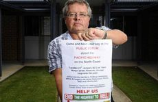 Dr Ray Jones at a Pacific Highway protest at Urunga earlier this year.