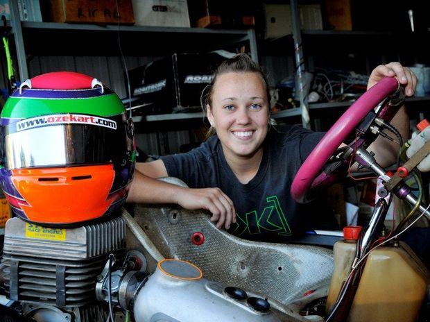 TICKLED PINK: Toowoomba kart driver Alexandra Whitley.