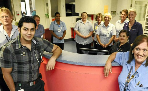 Rehabilitation staff members Stephen Dittmann, Rafeeq Fakhir, Sheryll Habermann and colleagues are pleased that Bundaberg Hospital has done well in the recent accreditation.