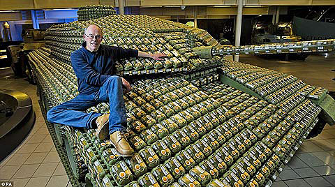 Artist Stuart Murdoch's life-sized tank made of egg cartons.