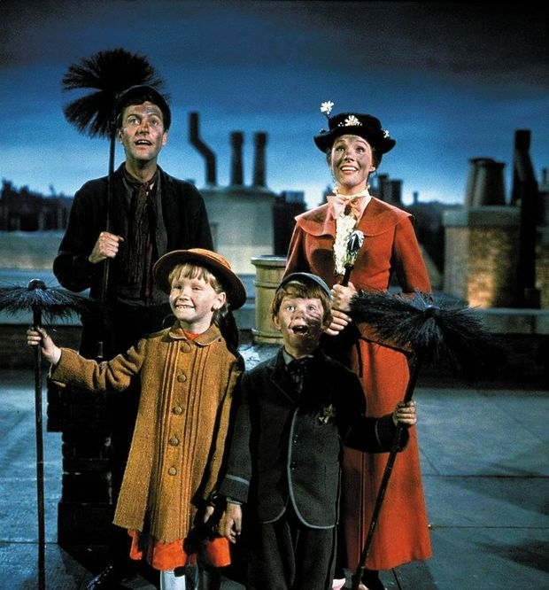 Dick Van Dyke (back left) in the classic movie Mary Poppins, which was released in 1964.