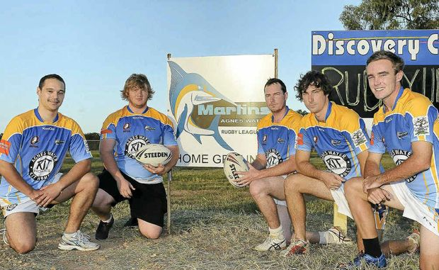 Rahiri Marsh, Cameron Rankin, James Sykes, Jason Sykes and Joshua Balkin show off their new jerseys from 2012 debut club the Agnes Water Marlins.