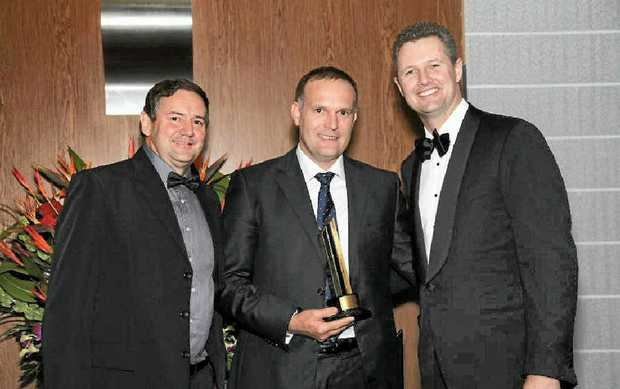 Central Queensland ActionCoach's Don Butler, Atlass owner Matt McCauley and the founder and chief executive of ActionCoach, Brad Sugars, at the awards.