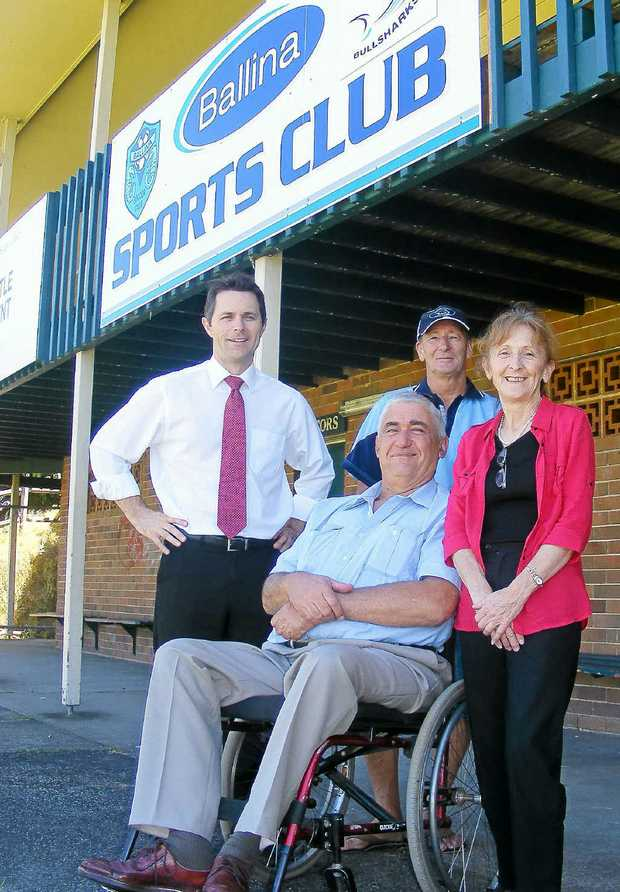 LIGHTS FOR SAFETY: Pictured announcing more lighting for local parks federal Minister for Home Affairs Jason Clare, Ballina Shire Mayor Phillip Silver, Ballina Sports Club president Gary Blackman and Page MP Janelle Saffin.