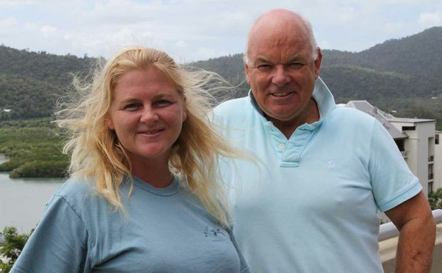 VISIONARY: Eco Barge Clean Seas inc director Libby Edge with mayoral candidate Tony Maine who plans to hit the mining magnates for money to protect our reef.