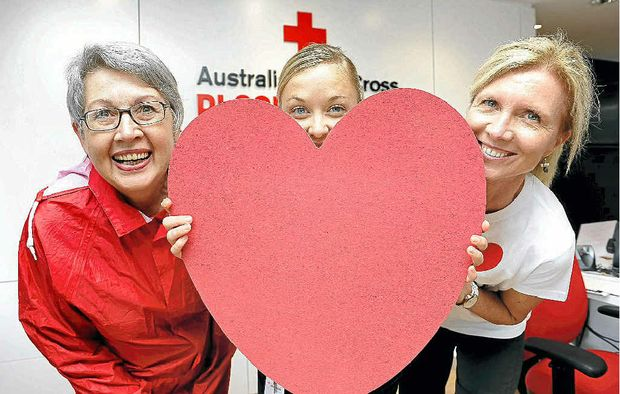 Lismore mayor Jenny Dowell and Lismore Blood Bank registered nurse Carly Hebbard (centre) and donor services nursing assistant Kim Sauverain pictured as Lismore begins the Where is the Heart of New South Wales? challenge.