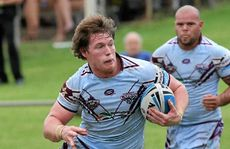 Capras player Tim Glasby in action against the Wynnum Manly Seagulls in Sunday's heavy loss to the defending premiers.