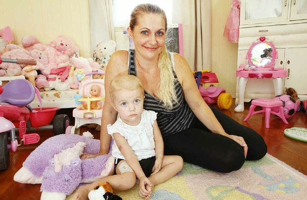 Two-year-old Holly Muhling has leukaemia and is pictured here with her mum Angela Deschamp.