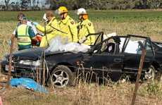 A car carrying three people rolled on Toolburra Plains Rd.