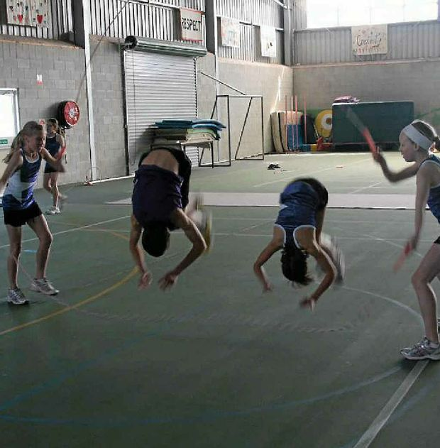 Natasha Lacey, Kelsey and Teneal Hutchin, and Abbie Reeves show off their skills at the National Titles in Canberra 2011.