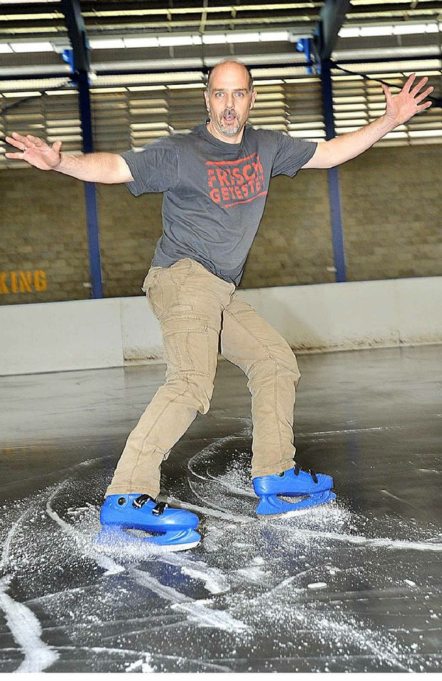 Paul Malone tests the freshly laid ice at Maryborough Showground.
