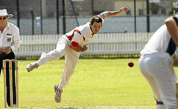 Souths fast bowler Jake Frame flies into action.