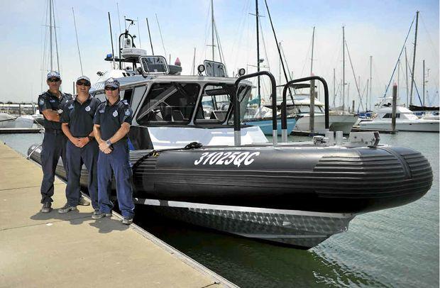 BOATIES BEWARE: Gladstone Water Police Sergeant Jeff Bernett, Constable Matt Habermann and Constable John Kernan.