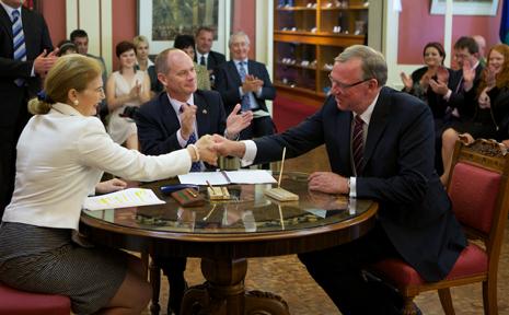 IN POWER: Member for Callide Jeff Seeney is sworn into Parliament