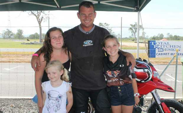 FAMILY AFFAIR: Former Proserpine rider Brant Jansen with Tegan, Jessica and Sarah at the ride day on Saturday at the Whitsunday Raceway and Driver Training Facility. Photo Aimee Vinci / Whitsunday Times