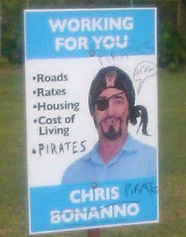 Chris Bonanno's campaign poster near Mackay harbour.