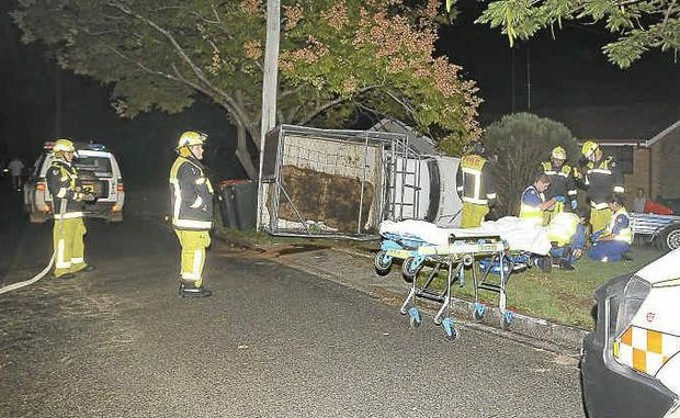 ROLLOVER: The ute that crashed in Roberts Dr, South Grafton last night with five calves on board. Photo: Terry Deefholts