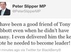 Slipper: Abbott needed my vote