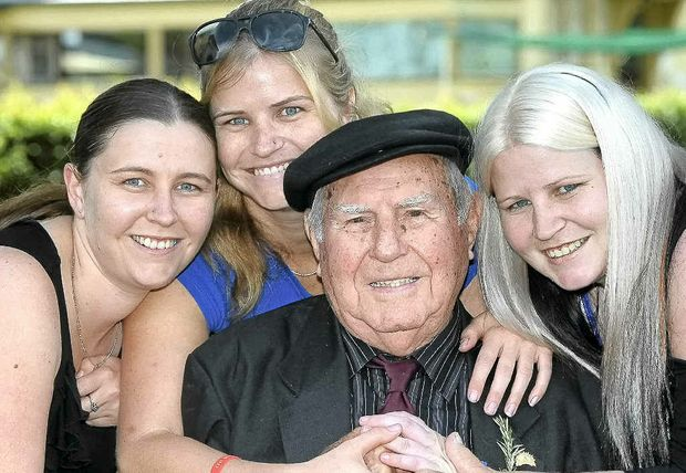 Gordon Youngberry surrounded by his granddaughters yesterday, from left, Shonell Youngberry of Sydney, Emma Youngberry of Kalgoorlie and Kayla Youngberry of Lismore.