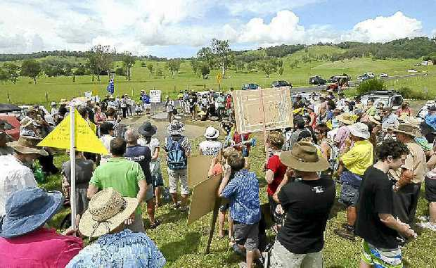 One of many recent CSG protest rallies, in this case about 100 people turned out at Tuncester hall.