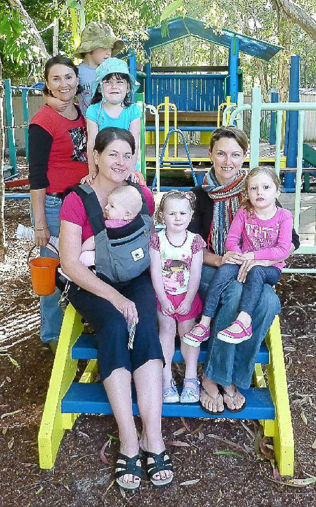 Mums Traci, Tasmin and Amanda with their children at Coolum Beach Kindy.