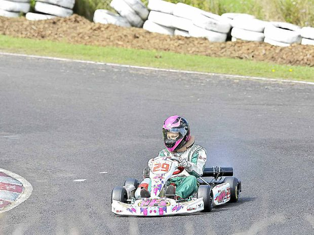 Natasha Herne of Lismore races in the Young Guns at the Lismore Kart Club track.