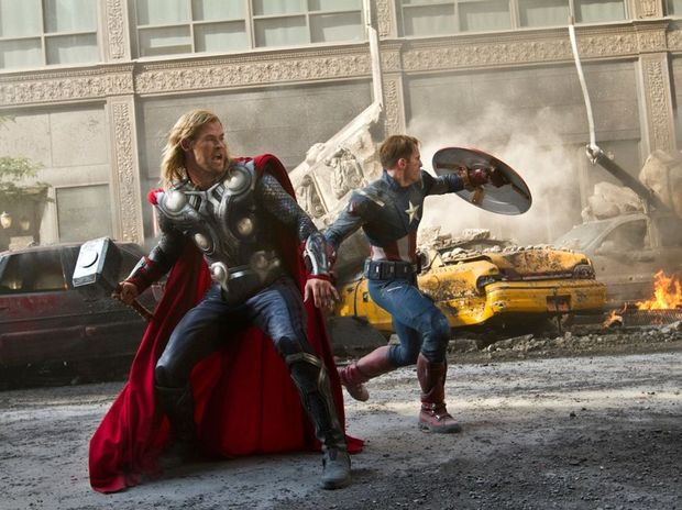 Chris Hemsworth (Thor, left) and Chris Evans (Captain America, right) in a scene from the movie The Avengers.