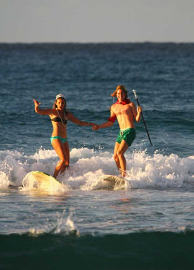 Lorea Berhonde and Harry Dorrington hope to be crowned this year's King and Queen of the Campuses Surf Competition