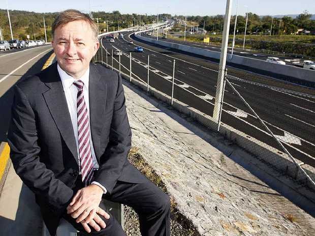 Federal Minister Anthony Albanese at the opening of the Ipswich Motorway upgrade yesterday.